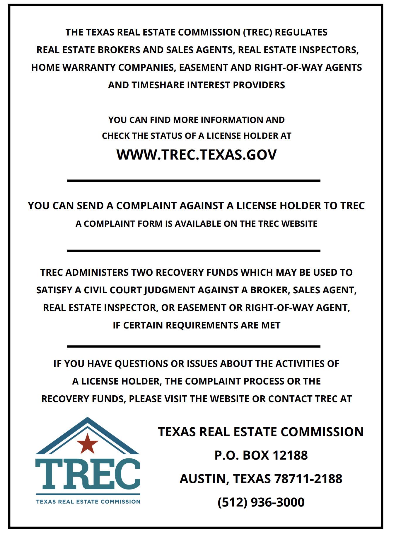 Texas Consumer Notice
